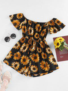 ZAFUL Off Shoulder Flower Print Wide Leg Romper - Black S