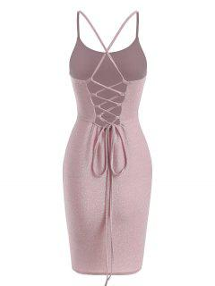 Lace Up Back Glitter Metallic Party Dress - Light Pink M