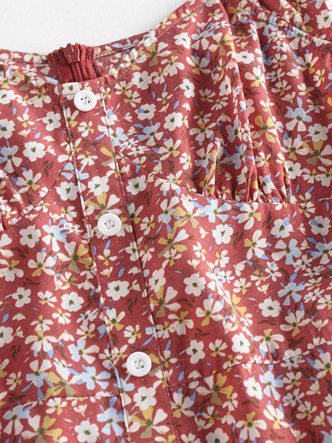 ZAFUL Blumen Rüschen Minikleid mit Knopfleiste - Multi XL Mobile