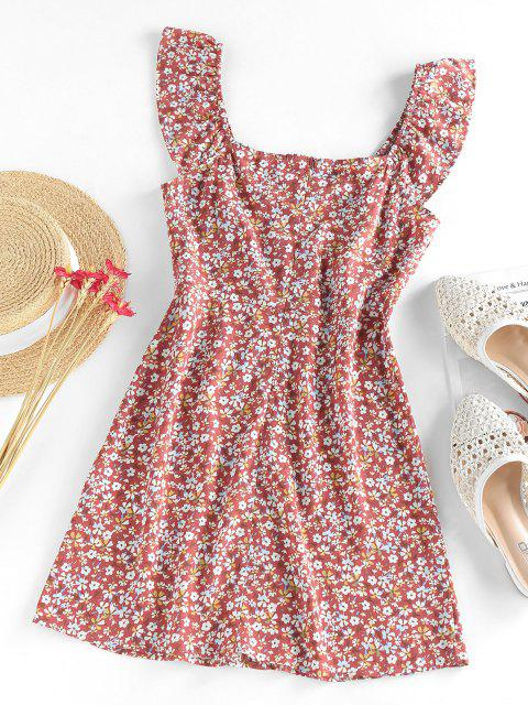 sale ZAFUL Flower Mock Button Ruffle Mini Dress - MULTI M Mobile