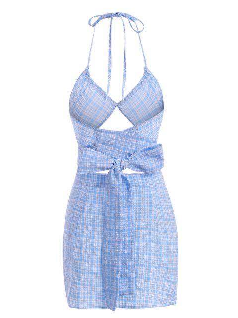 Seersucker Plaid Slit Halter Mini Skirt Set - أزرق فاتح M Mobile