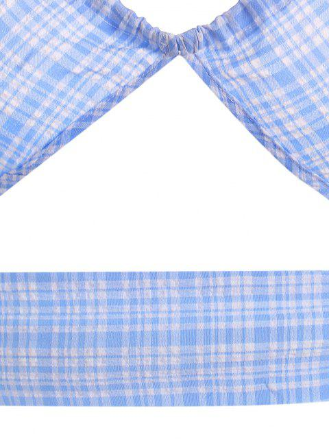 women's Seersucker Plaid Slit Halter Mini Skirt Set - LIGHT BLUE M Mobile