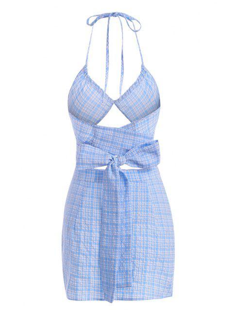 sale Seersucker Plaid Slit Halter Mini Skirt Set - LIGHT BLUE L Mobile
