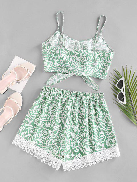 fashion ZAFUL Leaf Print Crochet Insert Tied Shorts Set - GREEN S Mobile