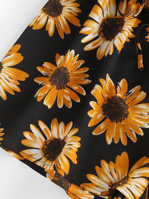 ZAFUL Barboteuse Fleur Imprimée Epaule Dénudée à Jambe Large - Noir L Mobile
