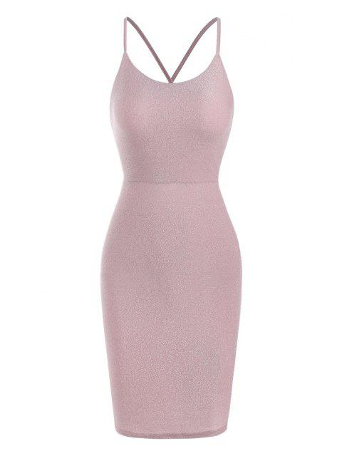 trendy Lace Up Back Glitter Metallic Party Dress - LIGHT PINK M Mobile