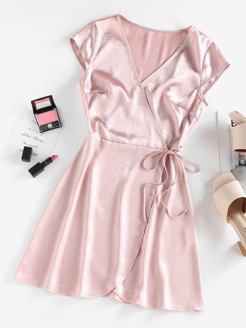 hot ZAFUL Satin Cap Sleeve Wrap Dress - LIGHT PINK S Mobile