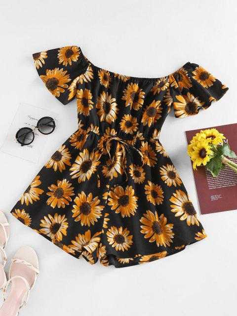 sale ZAFUL Off Shoulder Flower Print Wide Leg Romper - BLACK M Mobile