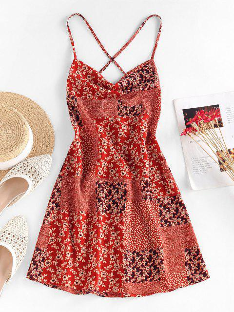 shop ZAFUL Flower Patchwork Printed Mini Cami Dress - RED M Mobile