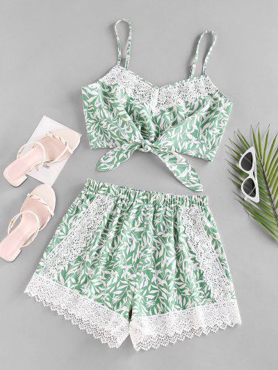 ZAFUL Leaf Print Crochet Insert Tied Shorts Set - Green S