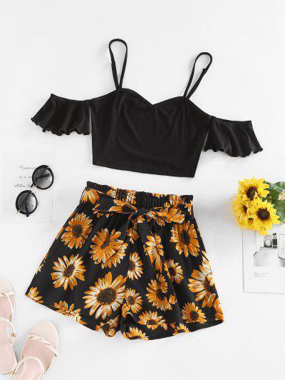ZAFUL Ribbed Flower Print Ruffle Paperbag Shorts Set - Black Xl