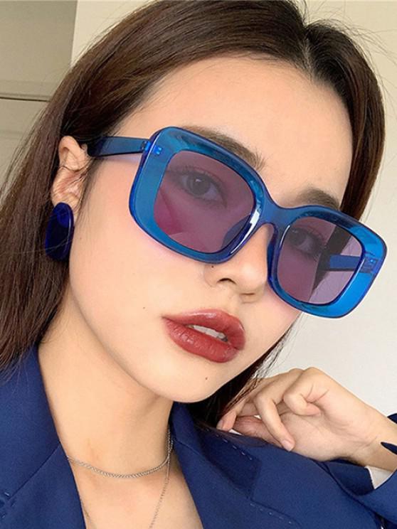 buy Retro Oversized Transparent Square Frame Sunglasses - BLUE