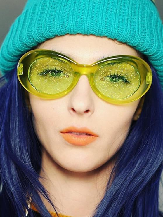 women Oval Transparent Frame Glitter Tinted Sunglasses - LAWN GREEN