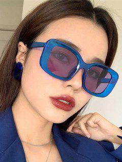 Retro Oversized Transparent Square Frame Sunglasses - Blue