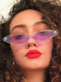 Retro Transparent Frame Tinted Slim Sunglasses - Mauve