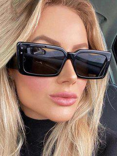 Rectangle Frame Stud Oversize Sunglasses - Black