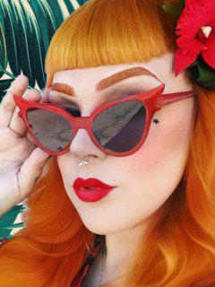 Retro Eye-Frame Grey Tinted Sunglasses - Red