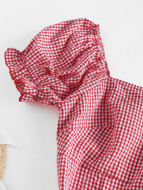 sale ZAFUL Gingham Puff Sleeve Dress - RED L Mobile