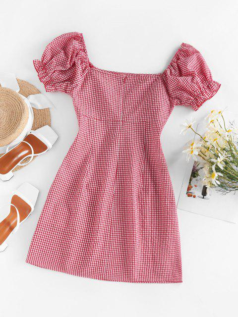 online ZAFUL Gingham Puff Sleeve Dress - RED M Mobile