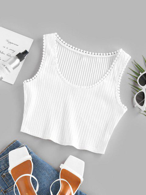 new ZAFUL Basic Ribbed Crop Top - WHITE M Mobile