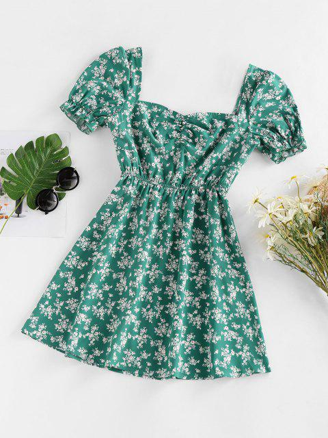 affordable ZAFUL Floral Print Puff Sleeve Mini Dress - DEEP GREEN L Mobile