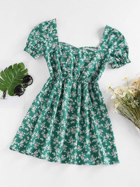 ZAFUL Mini-Robe Fleurie Imprimée à Manches Bouffantes - Vert profond XL Mobile