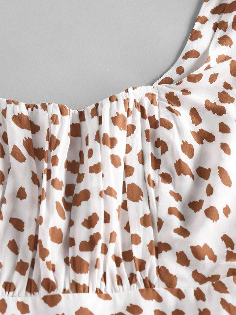 hot ZAFUL Leopard Ruched Bust Ruffle Wide Leg Romper - WHITE M Mobile