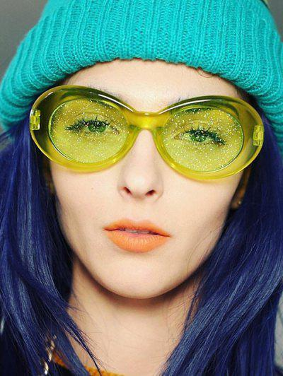Oval Transparent Frame Glitter Tinted Sunglasses - Lawn Green