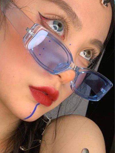 Rectangle Transparent Frame Tinted Sunglasses - Sky Blue