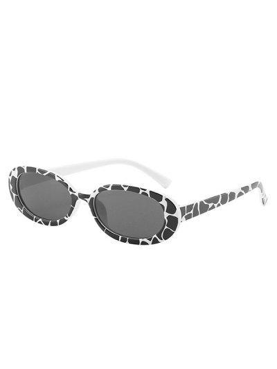 Cow Print Oval-Frame Slim Sunglasses - Crystal Cream