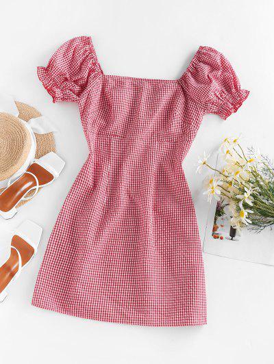 ZAFUL Gingham Puff Sleeve Dress - Red M