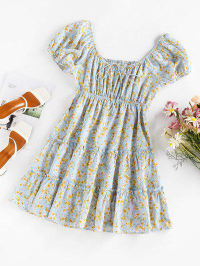 Floral Print Puff Sleeve Ruffle Dress - Light Blue M