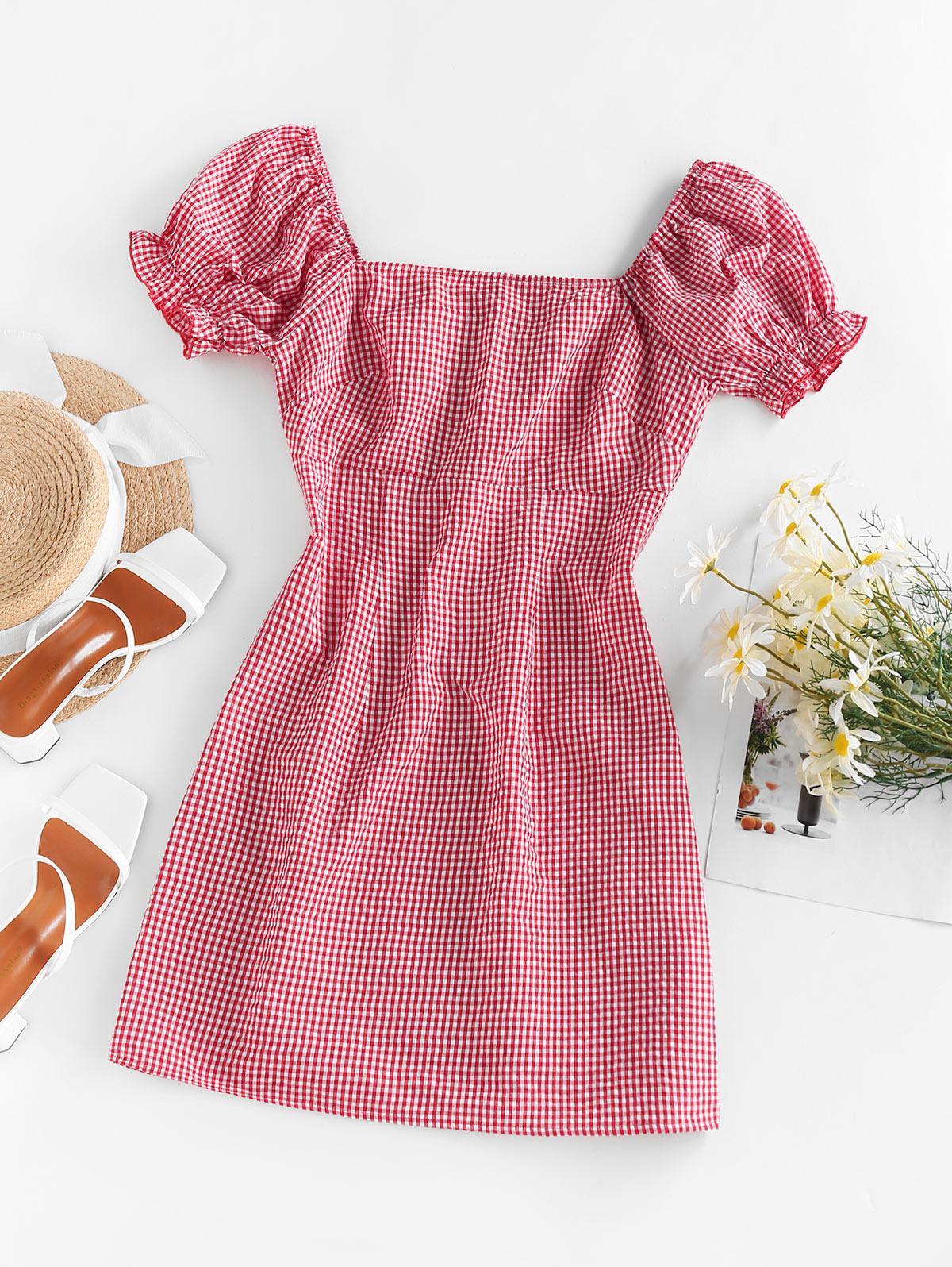 ZAFUL Gingham Puff Sleeve Dress