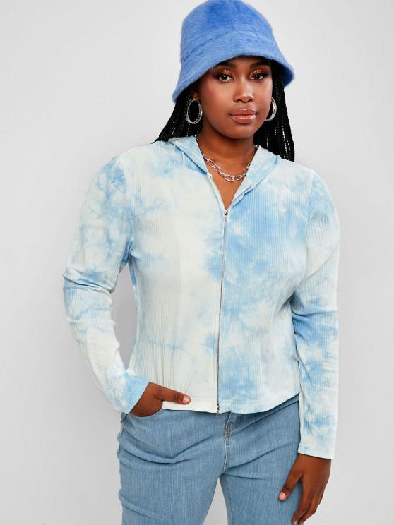 ZAFUL Plus Size Ribbed Tie Dye Hooded Double Way Zip Cardigan - Light Blue L