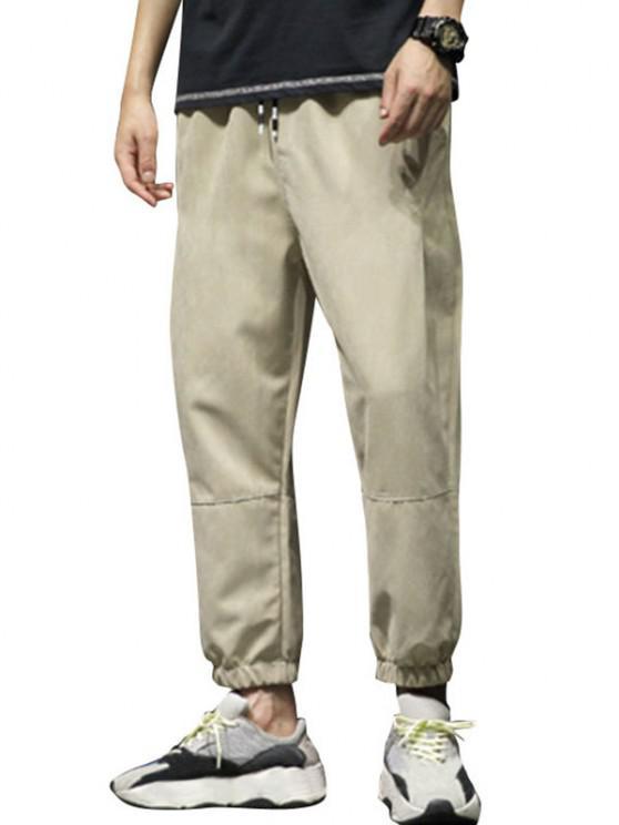 Nähte Elastische Taille Beam Füße Hose - Khaki XS