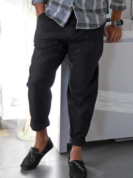 Pantalones Rectos de Bolsillo de Imitación de Color Sólido - Negro M