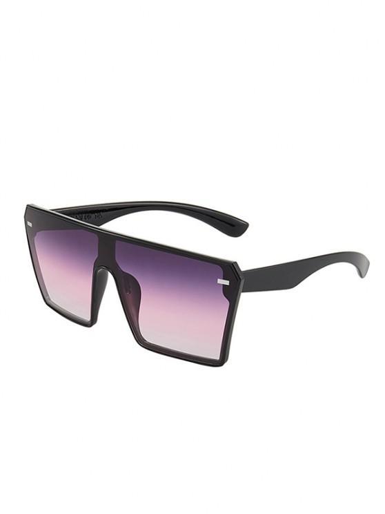 ladies Oversize Square Frame Flat-Top Futuristic Sunglasses - PURPLE AMETHYST