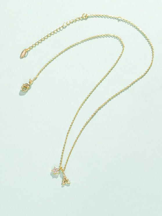 women Star Tower Pendant Necklace - GOLDEN