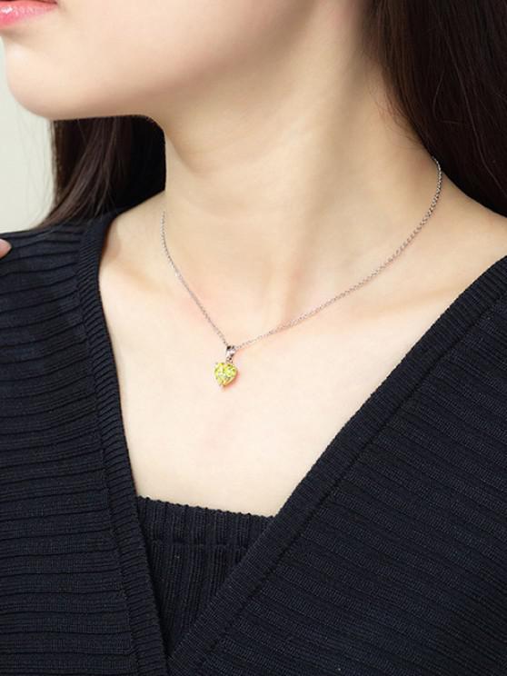 best Heart Shaped Zircon Pendant Necklace - YELLOW