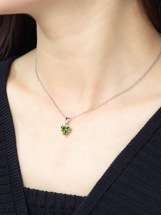 online Heart Shaped Zircon Pendant Necklace - YELLOW GREEN
