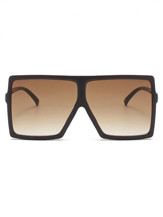 sale Oversize Flat-Top Square Frame Anti UV Sunglasses - COFFEE