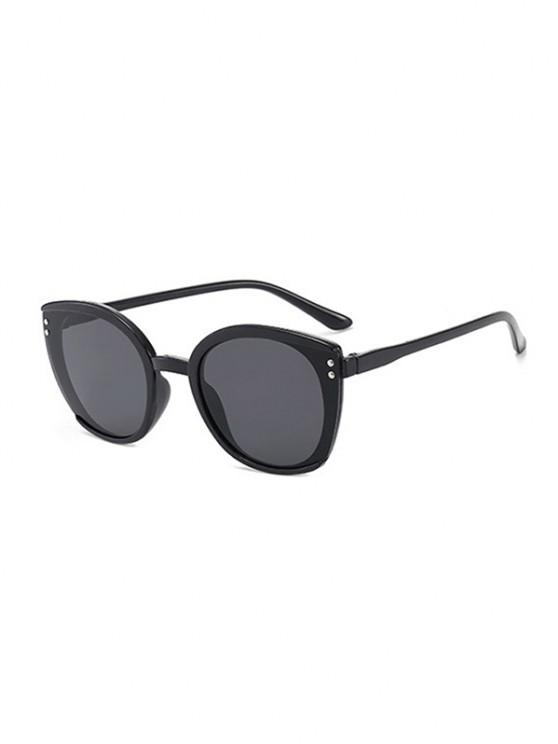 affordable Oversized Butterfly-Frame Double Stud Sunglasses - BLACK