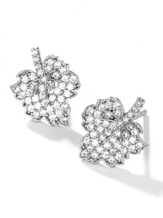 Leaf Zircon Inlay Stud Earrings - فضة