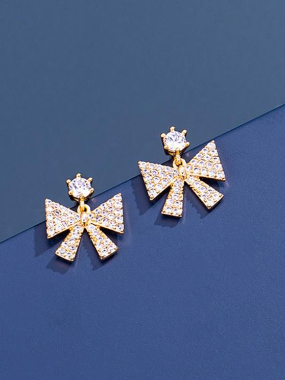 Bowknot Zircon Stud Drop Earrings - ذهبي
