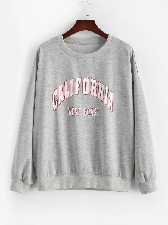 fashion ZAFUL Plus Size Crewneck California Graphic Marled Sweatshirt - LIGHT GRAY 2XL