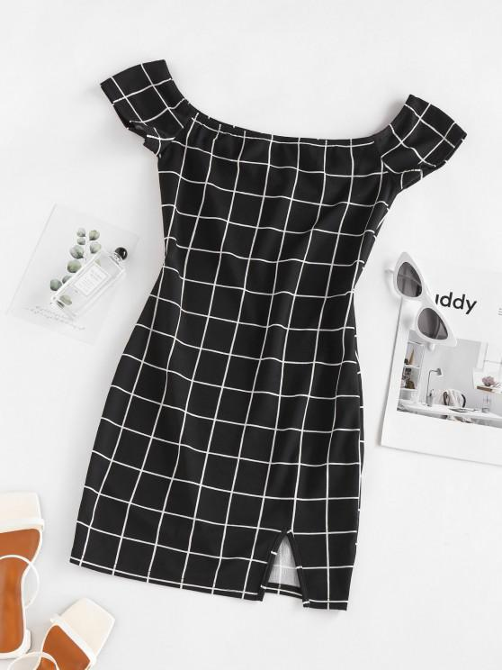 outfits ZAFUL Plaid Off The Shoulder Mini Dress - BLACK L