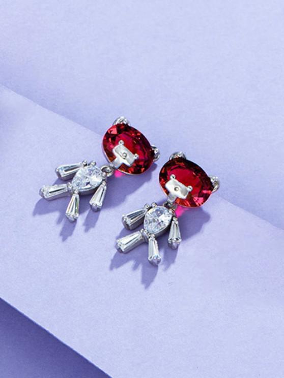 shop Bear Shape Zircon Inlay Earrings - SILVER