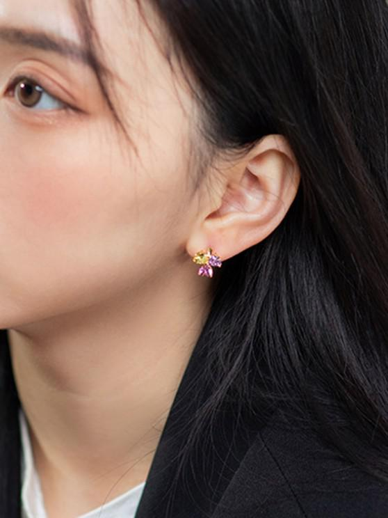 unique Zircon Clover Small Hoop Earrings - MULTI-C
