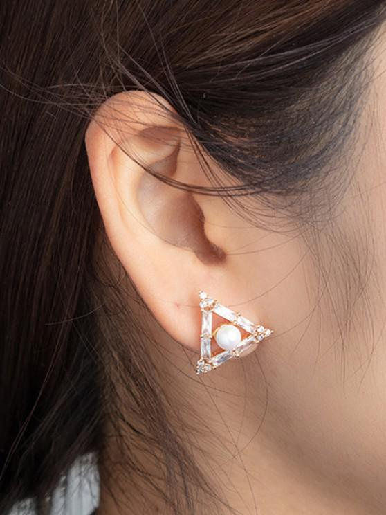 Aretes de Perlas de Imitación de Triángulo - dorado