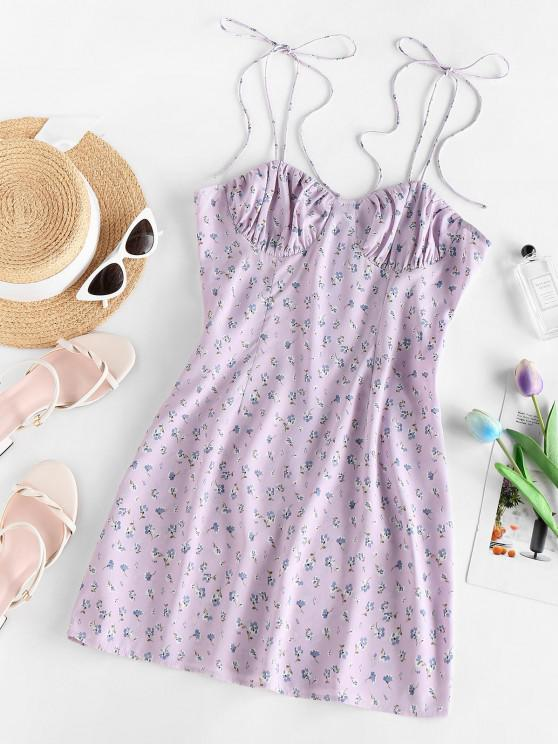 affordable ZAFUL Ditsy Floral Ruched Tied Strap Cami Dress - LIGHT PURPLE M